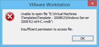 VMware Workstation - Unable to open file insufficient permission to