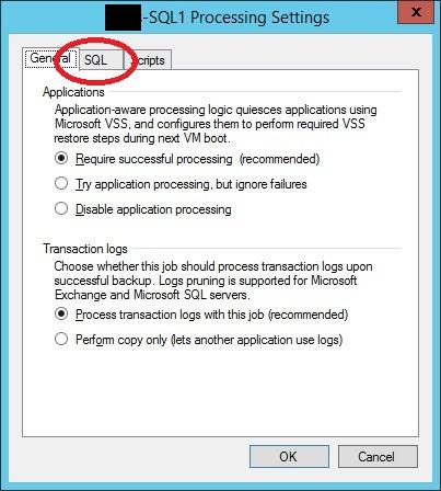 Veeam 8 : How to Backup SQL Transaction Logs -