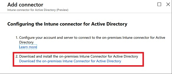 Download Intune Connector