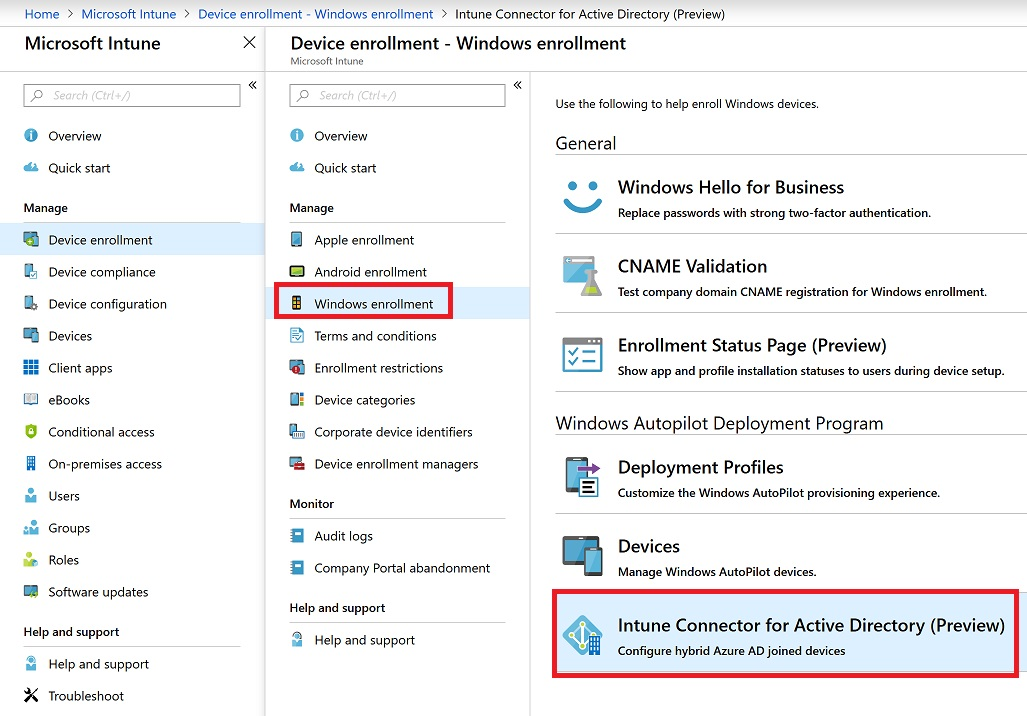 Setup Hybrid Azure AD joined devices using Intune and Windows